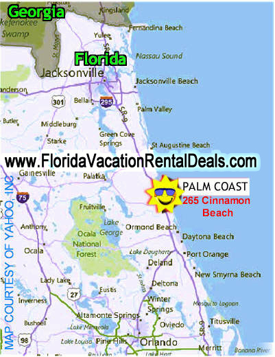 Cinnamon Beach - Palm Coast, Florida Map. www.FloridaVacationRentalDeals.com